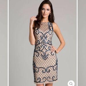 Lara Sheer Sweetheart Neck Short Dress Nude/Navy 4